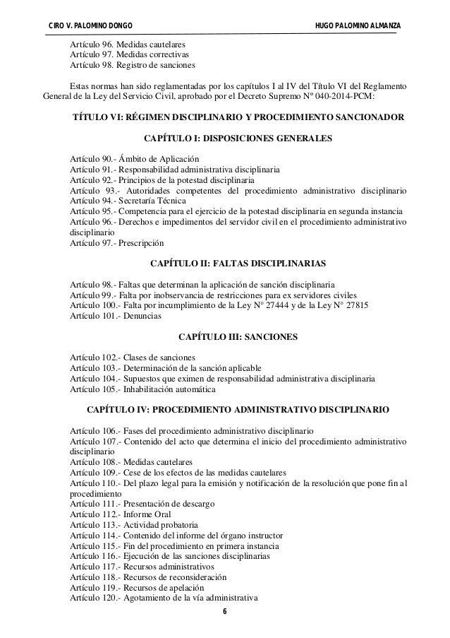 CIRO V. PALOMINO DONGO HUGO PALOMINO ALMANZA  Artículo 96. Medidas cautelares  Artículo 97. Medidas correctivas  Artículo ...