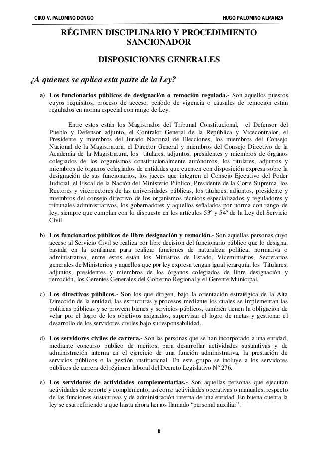 CIRO V. PALOMINO DONGO HUGO PALOMINO ALMANZA  RÉGIMEN DISCIPLINARIO Y PROCEDIMIENTO  SANCIONADOR  DISPOSICIONES GENERALES ...