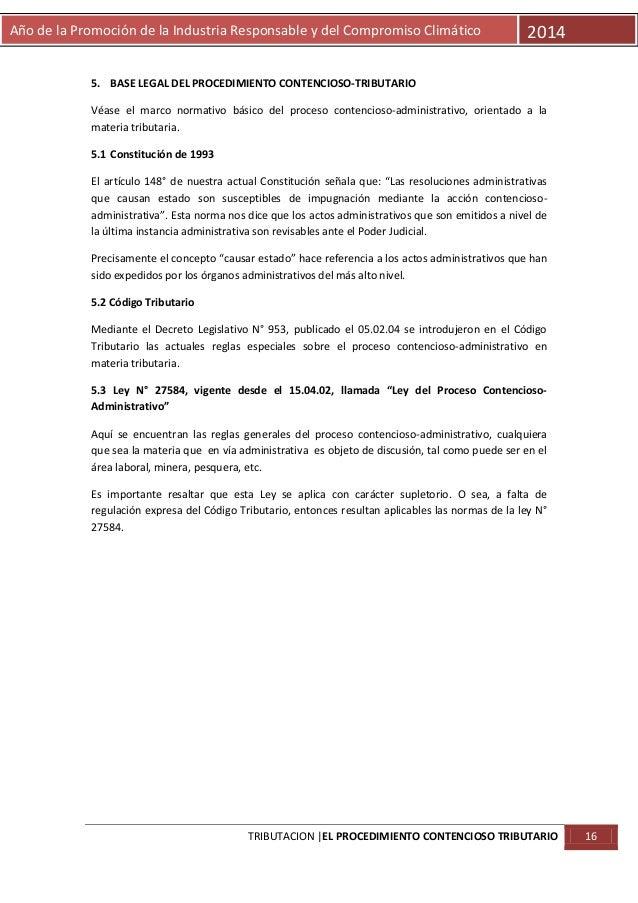 Año de la Promoción de la Industria Responsable y del Compromiso Climático  2014  5. BASE LEGAL DEL PROCEDIMIENTO CONTENCI...