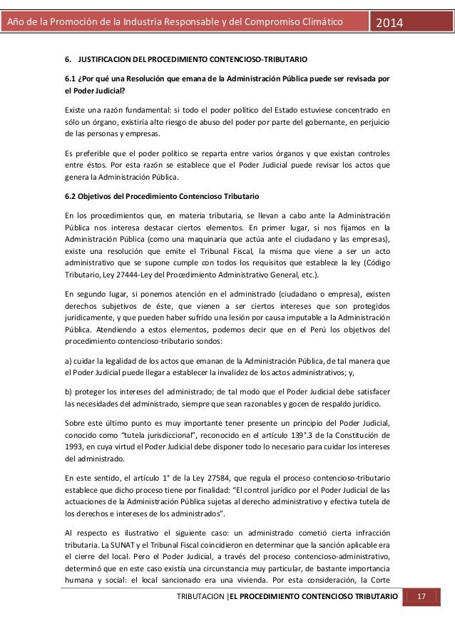 Año de la Promoción de la Industria Responsable y del Compromiso Climático  2014  6. JUSTIFICACION DEL PROCEDIMIENTO CONTE...