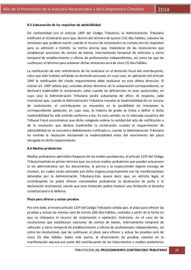 Año de la Promoción de la Industria Responsable y del Compromiso Climático  2014  8.3 Subsanación de los requisitos de adm...
