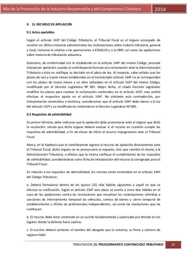 Año de la Promoción de la Industria Responsable y del Compromiso Climático  2014  9. EL RECURSO DE APELACION 9.1 Actos ape...