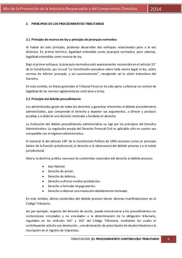 Año de la Promoción de la Industria Responsable y del Compromiso Climático  2014  2. PRINCIPIOS DE LOS PROCEDIMIENTOS TRIB...