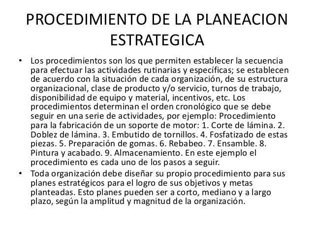 PROCEDIMIENTO DE LA PLANEACION ESTRATEGICA • Los procedimientos son los que permiten establecer la secuencia para efectuar...