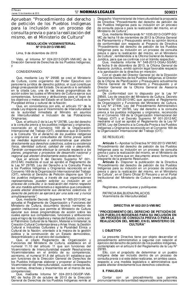 """El Peruano Jueves 12 de diciembre de 2013  Aprueban """"Procedimiento del derecho de petición de los Pueblos Indígenas para l..."""