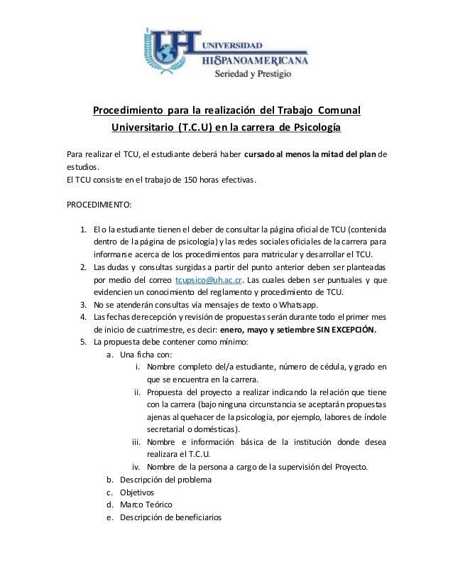 Procedimiento para la realización del Trabajo Comunal Universitario (T.C.U) en la carrera de Psicología Para realizar el T...