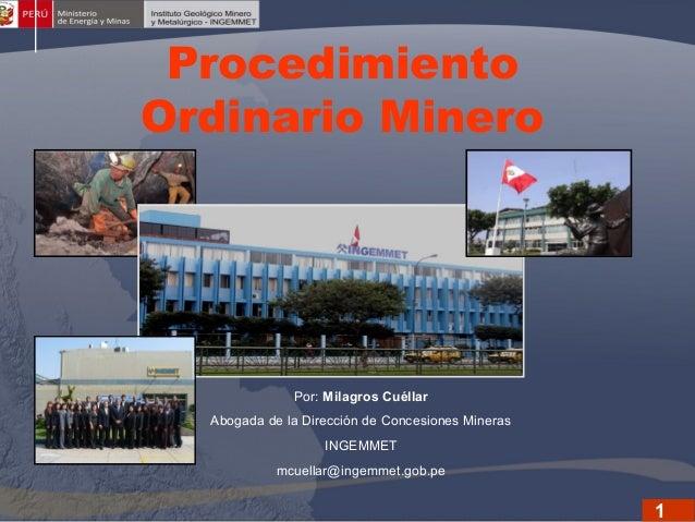 Procedimiento Ordinario Minero  (POM) Por: Milagros Cuéllar Abogada de la Dirección de Concesiones Mineras INGEMMET mcuell...