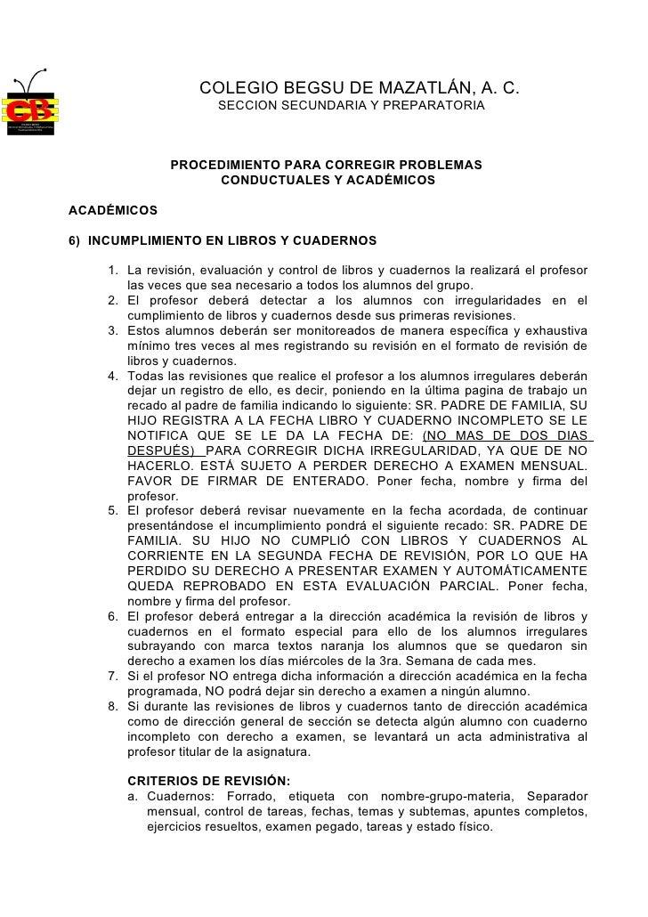 COLEGIO BEGSU DE MAZATLÁN, A. C.                        SECCION SECUNDARIA Y PREPARATORIA                  PROCEDIMIENTO P...