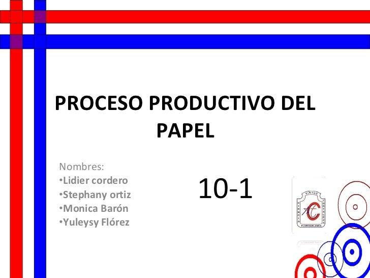 PROCESO PRODUCTIVO DEL PAPEL <ul><li>Nombres: </li></ul><ul><li>Lidier cordero </li></ul><ul><li>Stephany ortiz </li></ul>...