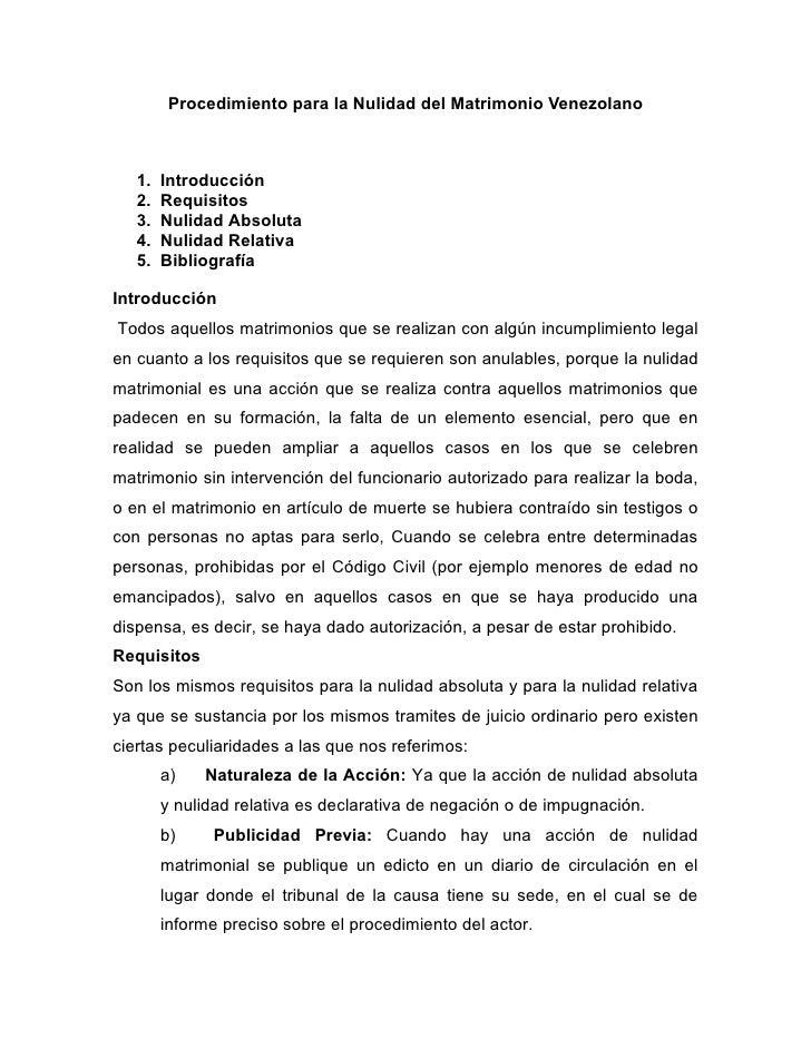 Matrimonio In Venezuela : Procedimiento para la nulidad del matrimonio en venezuela