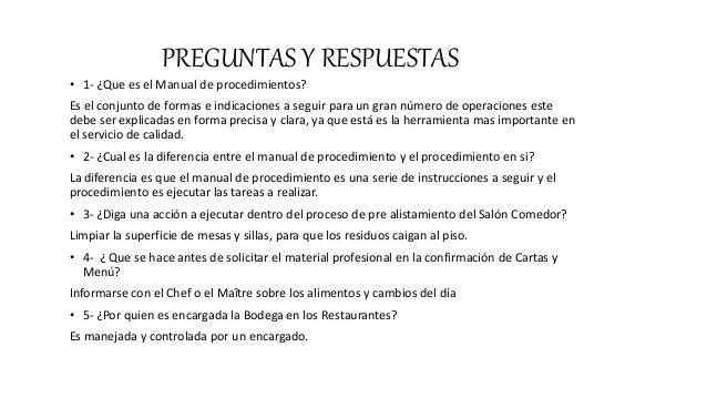 Procedimientos en el restaurante for Manual de operaciones de un restaurante ejemplo