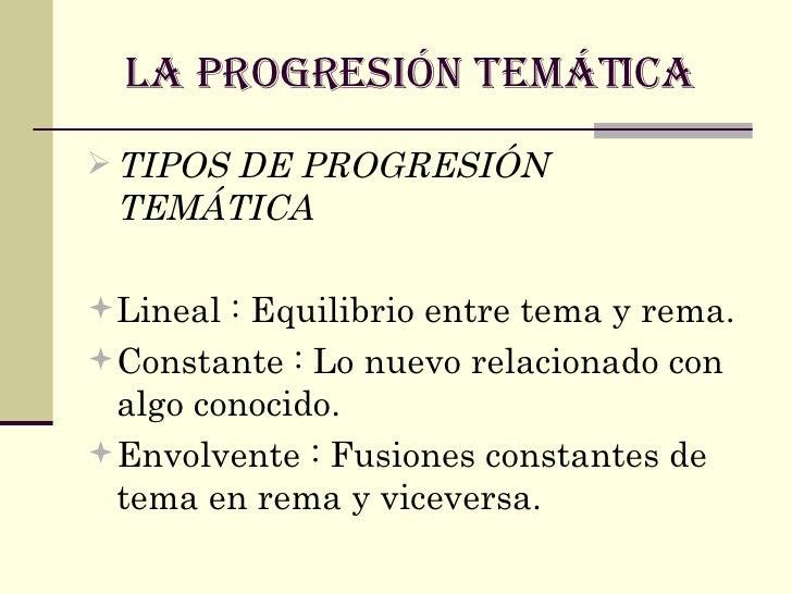 LA PROGRESIÓN TEMÁTICA   <ul><li>TIPOS DE PROGRESIÓN TEMÁTICA   </li></ul><ul><li>Lineal : Equilibrio entre tema y rema.  ...