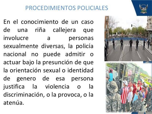 Procedimientos policiales con personas sexualmente diversas