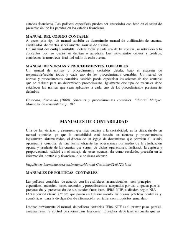 Manual de procedimientos de contabilidad unifeed. Club.