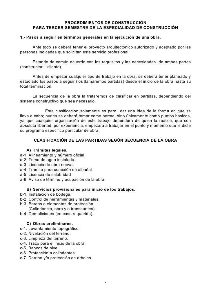PROCEDIMIENTOS DE CONSTRUCCIÓN      PARA TERCER SEMESTRE DE LA ESPECIALIDAD DE CONSTRUCCIÓN1.- Pasos a seguir en términos ...
