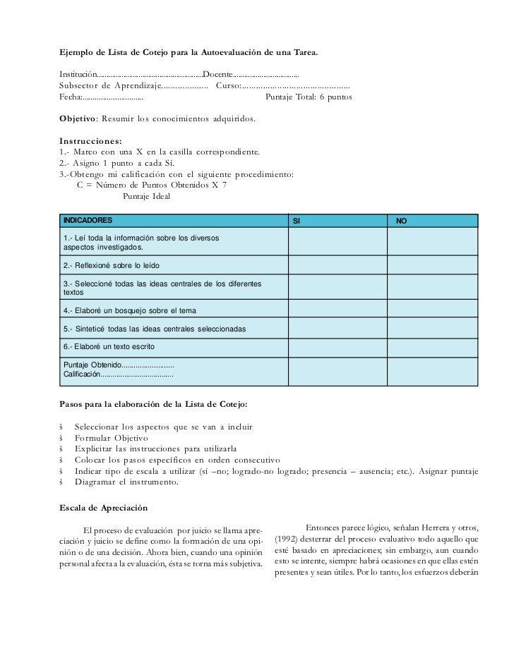 Procedimientos e instrumentos de evaluacion