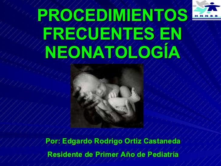 PROCEDIMIENTOS FRECUENTES EN NEONATOLOGÍA Por: Edgardo Rodrigo Ortiz Castaneda Residente de Primer Año de Pediatría