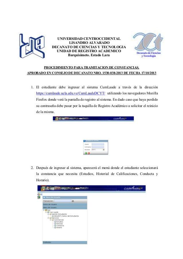 UNIVERSIDAD CENTROCCIDENTAL LISANDRO ALVARADO DECANATO DE CIENCIAS Y TECNOLOGIA UNIDAD DE REGISTRO ACADEMICO Barquisimeto....