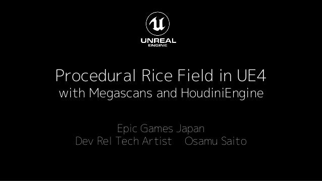 Procedural Rice Field in UE4 with Megascans and HoudiniEngine Epic Games Japan Dev Rel Tech Artist Osamu Saito
