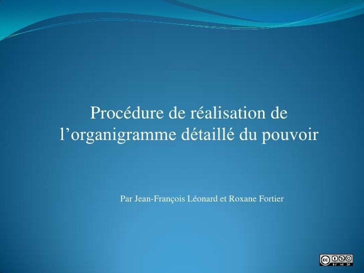Procédure de réalisation de l'organigramme détaillé du pouvoir          Par Jean-François Léonard et Roxane Fortier