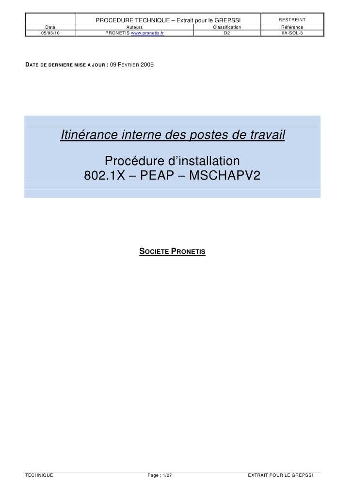 PROCEDURE TECHNIQUE – Extrait pour le GREPSSI                  RESTREINT       Date                        Auteurs        ...