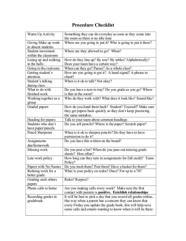 how to write a checklist procedure