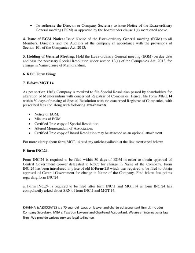 Procedure For Change Of Name Under Companies Act- Khanna & Associates…