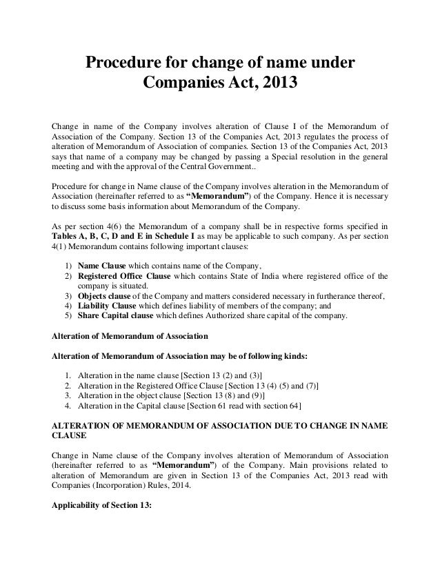 object clause of moa companies act 2013