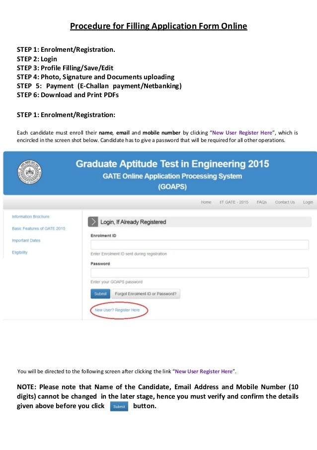 procedure-for-filling-application-form-online-gate-2015-1-638 Online Form Filling Jobs Procedure on
