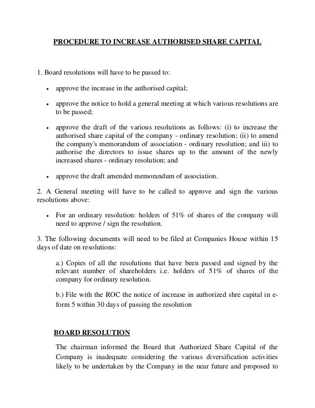 board resolution template singapore - procedure for increase in capital and resolution