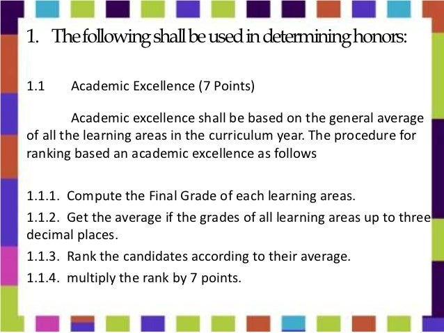 Procedure in the ranking of honor pupils 2012