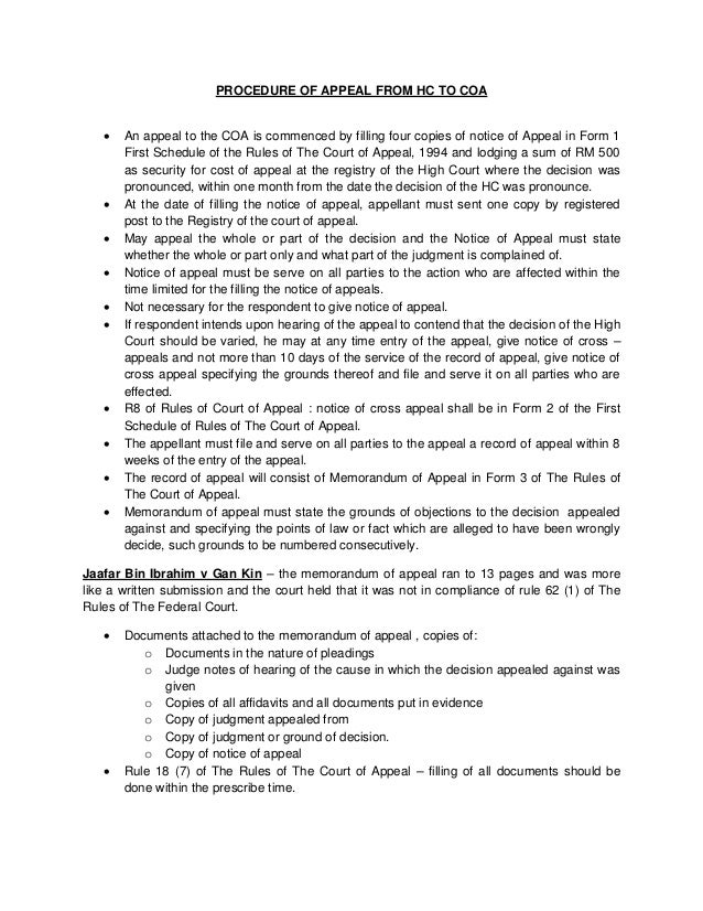 Procedure Of Appeal From High Court To Court Of Appeal