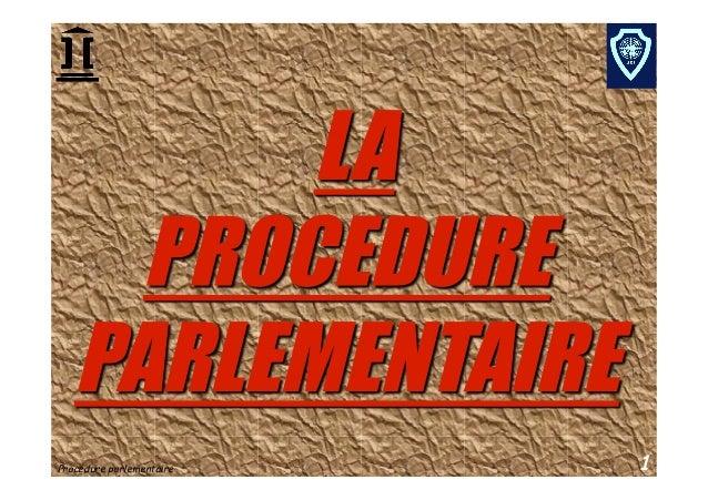 Procédure parlementaire   1
