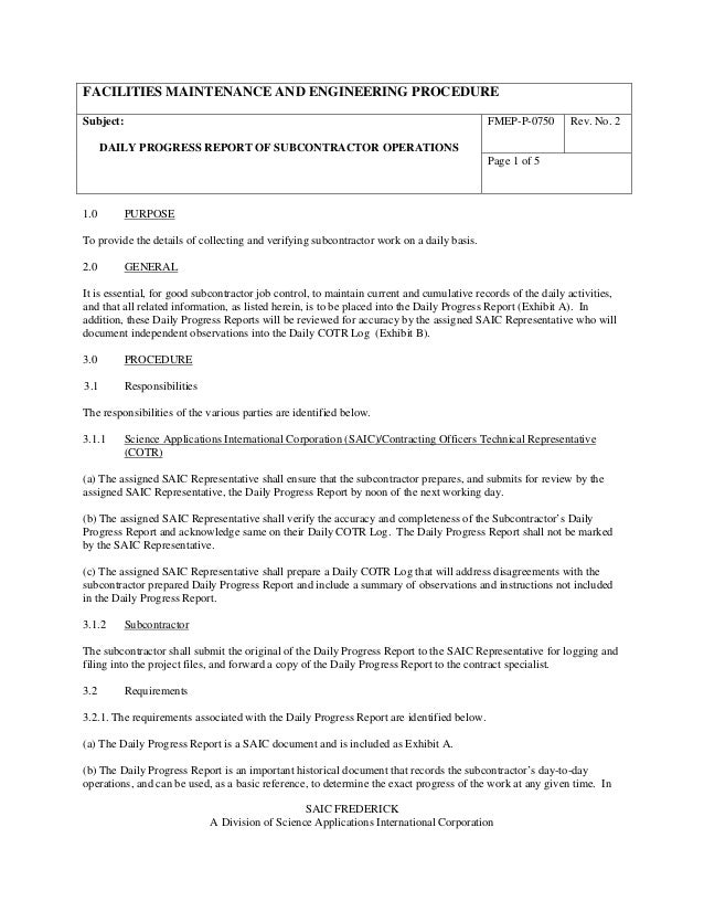 FACILITIES MAINTENANCE AND ENGINEERING PROCEDURE FMEP-P-0750 Rev. No. 2Subject: DAILY PROGRESS REPORT OF SUBCONTRACTOR OPE...