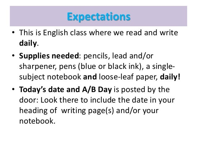 what is your expectation in english subject