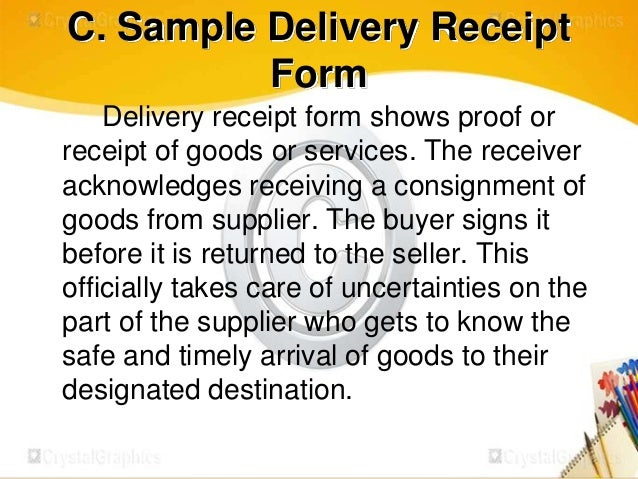 Procedures in receiving and storing tools and materials – Goods Receipt Form