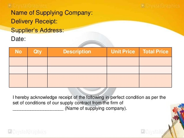 Procedures in receiving and storing tools and materials – Receiving Receipt