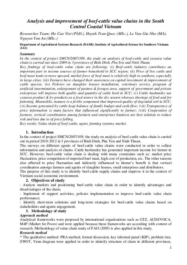 1 Analysis and improvement of beef-cattle value chains in the South Central Coastal Vietnam Researcher Team: Ho Cao Viet (...