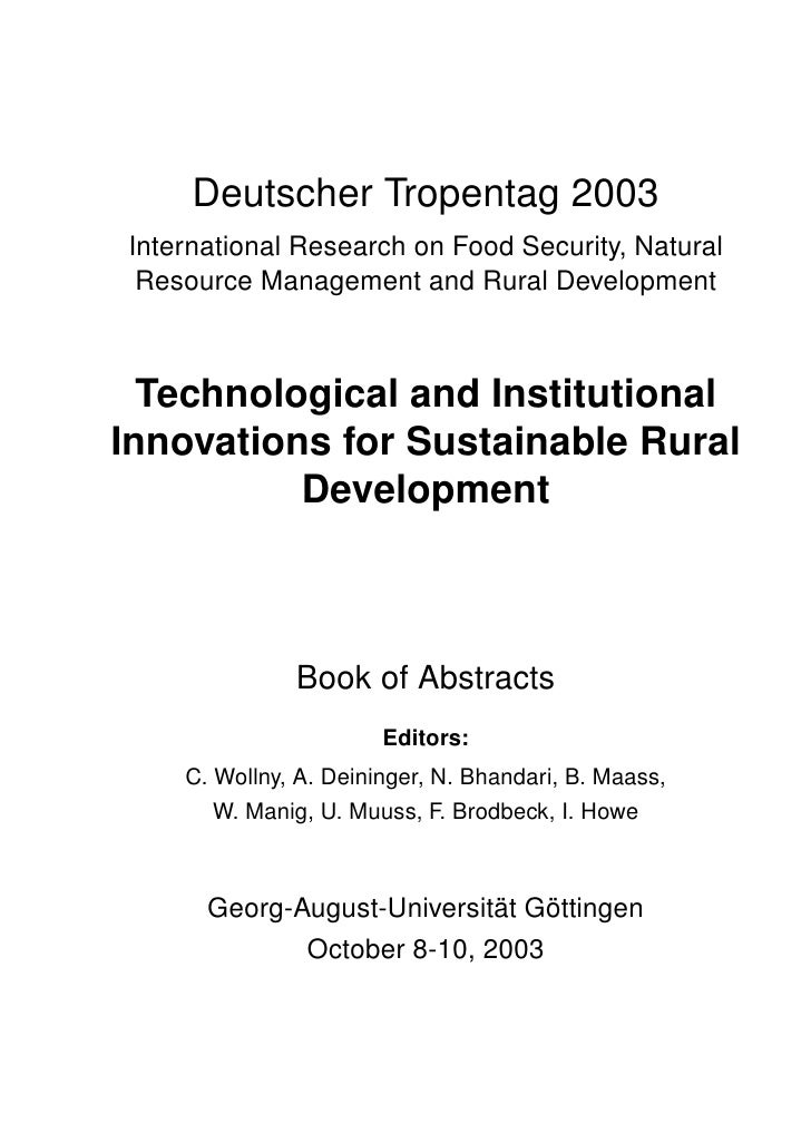 Deutscher Tropentag 2003International Research on Food Security, Natural Resource Management and Rural Development  Techno...