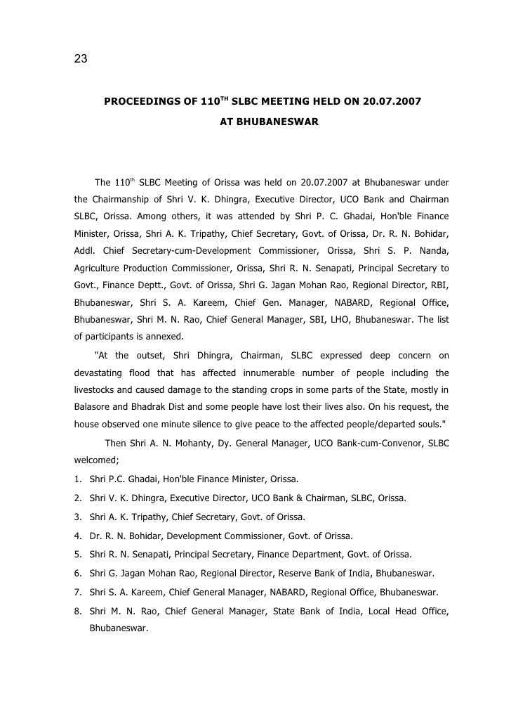 23          PROCEEDINGS OF 110TH SLBC MEETING HELD ON 20.07.2007                                    AT BHUBANESWAR        ...