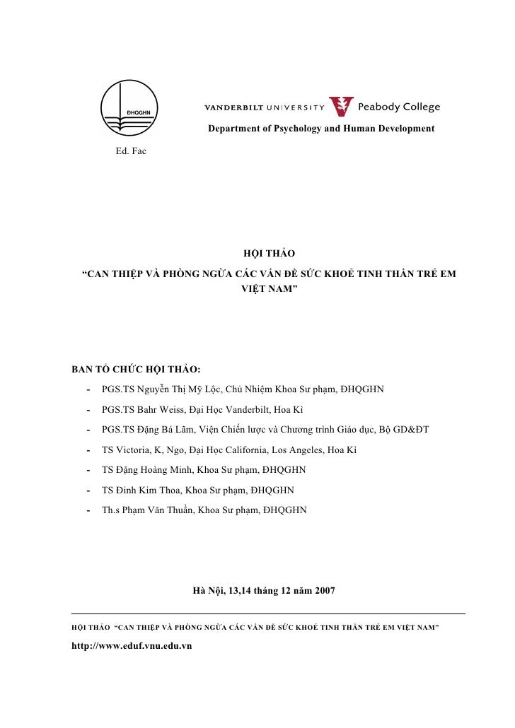 """Department of Psychology and Human Development            Ed. Fac                                             HỘI THẢO   """"..."""