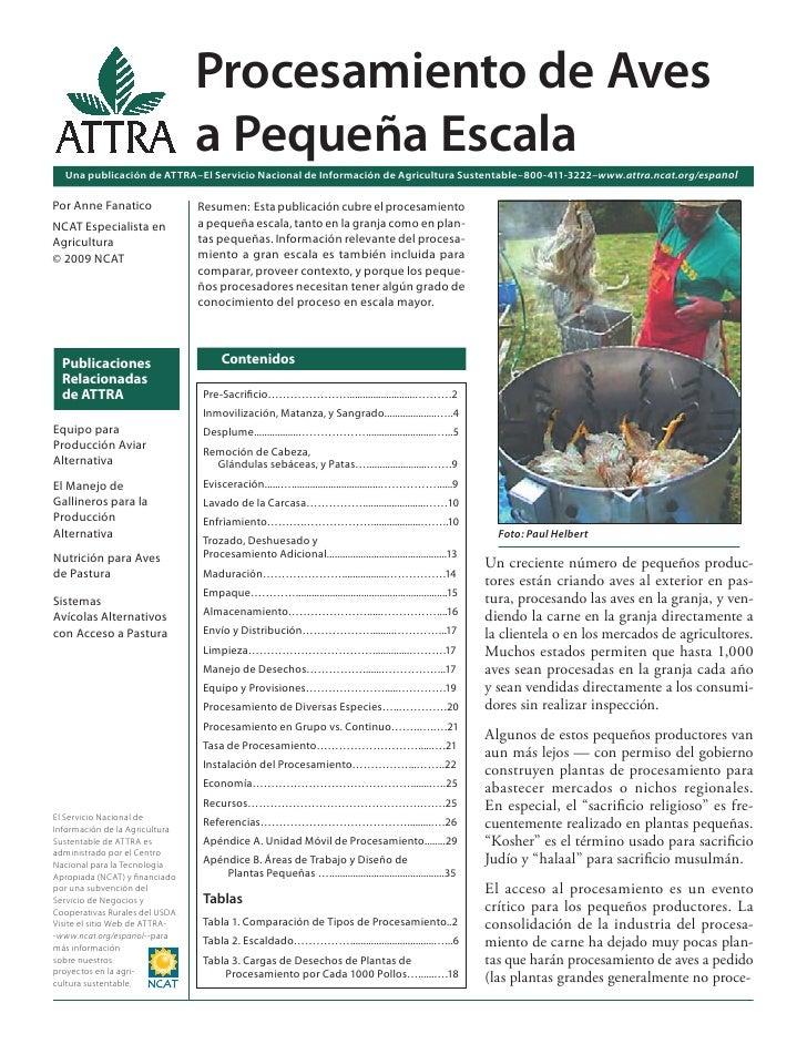 Procesamiento de Aves                                 a Pequeña Escala  Una publicación de ATTRA–El Servicio Nacional de I...