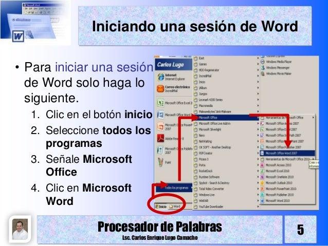 Procesador de palabras introducción y entorno