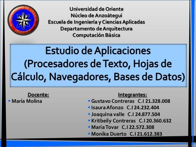 Universidad de Oriente                        Núcleo de Anzoátegui               Escuela de Ingeniería y Ciencias Aplicada...
