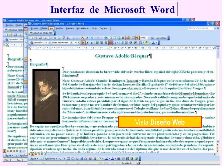 Interfaz  de  Microsoft  Word Vista  Normal Vista  Diseño Web