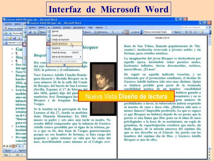 Interfaz  de  Microsoft  Word Vista  Esquema Nueva Vista  Diseño de lectura