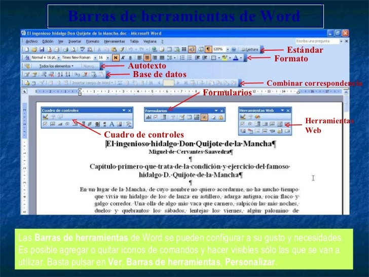Las  Barras de herramientas  de Word se pueden configurar a su gusto y necesidades. Es posible agregar o quitar iconos de ...