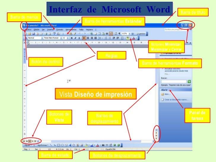 Interfaz  de  Microsoft  Word Barra  de título Barra de menús Barra de herramientas  Estándar Barra de herramientas  Forma...