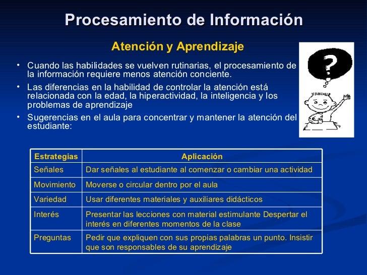 Procesamiento de Información Atención y Aprendizaje <ul><li>Cuando las habilidades se vuelven rutinarias, el procesamiento...