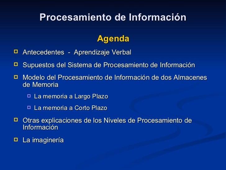 Procesamiento de Información <ul><li>Agenda </li></ul><ul><li>Antecedentes  -  Aprendizaje Verbal </li></ul><ul><li>Supues...